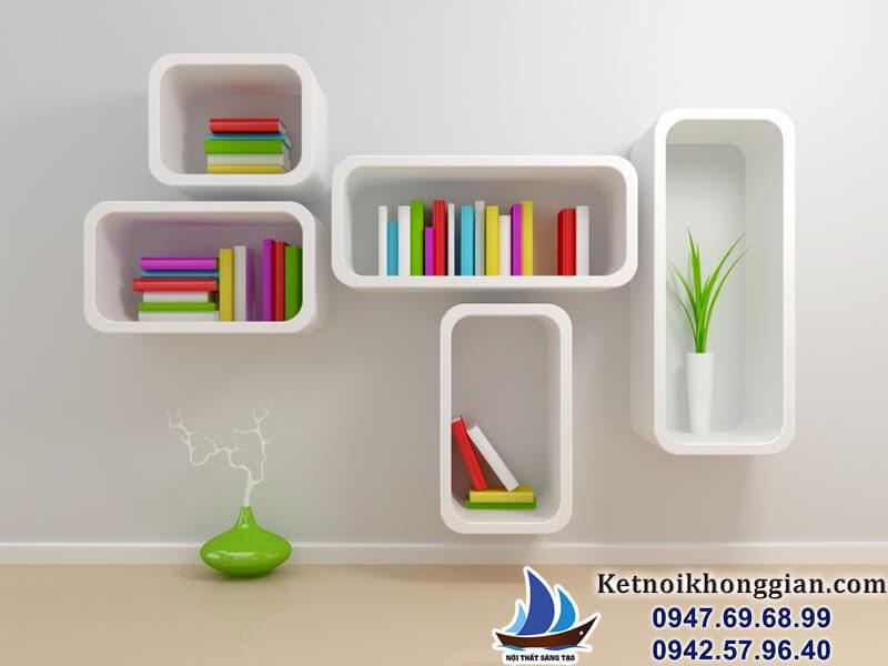trang trí nhà với giá sách cách điệu