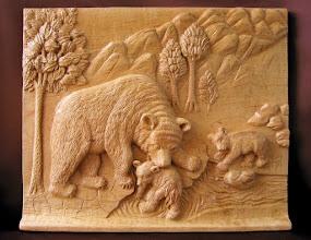 Photo: Instinto maternal (Osa con oseznos). 40 x 34 cm. Talla en madera. Woodcarving.   Para leer algo más en relación con esta obra ir al blog: http://tallaenmadera-woodcarving-esculturas.blogspot.com/2010/06/instinto-maternal-osa-con-oseznos.html