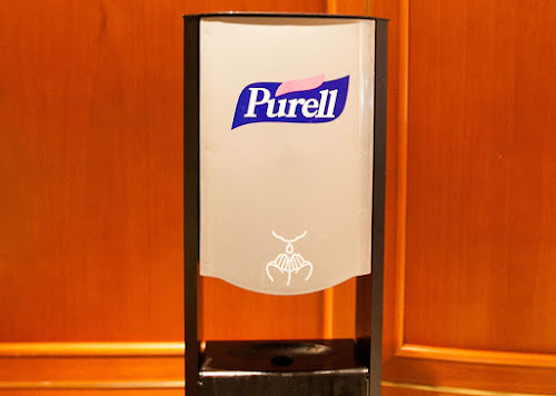 Purell hand sanitizer on Ruby Princess, an effective way to prevent the spread of norovirus.