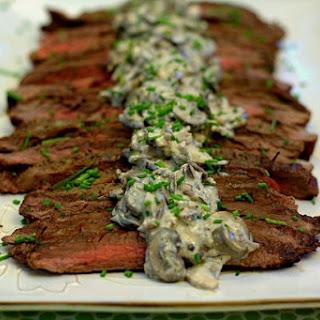 Grilled Flank Steak with Creamy Mushroom Sauce.
