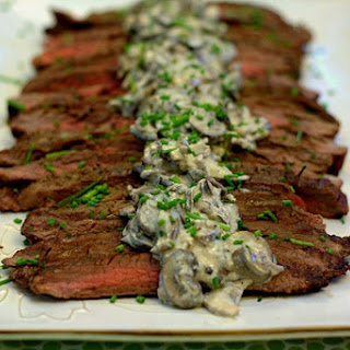 Grilled Flank Steak with Creamy Mushroom Sauce.
