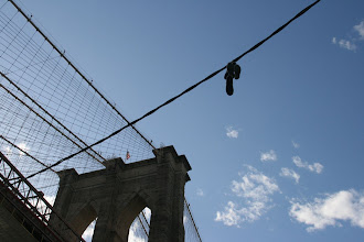Photo: Shoes on a wire near the Brooklyn Bridge.