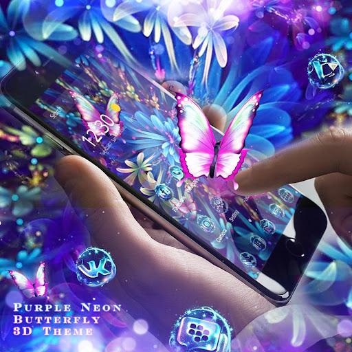 Purple Neon Butterfly 3D Theme 1.4.1 screenshots 3
