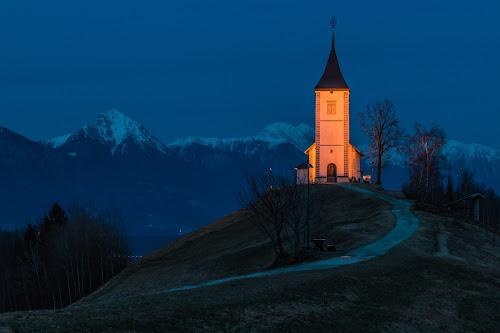by Mario Horvat - Landscapes Mountains & Hills ( mountains, church, slovenija, sunset, snow, slovenia, path, jamnik )