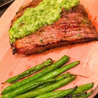 Grilled Chimichurri Skirt Steak and Green Beans