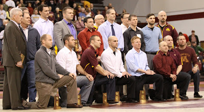 Photo: The 2001-02 University of Minnesota NCAA National Championship team was honored at intermission.