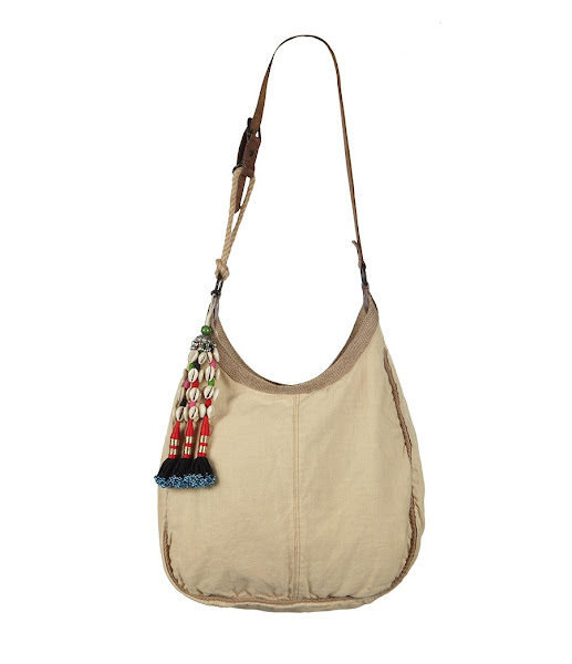 Photo: Kesion Bag>>  UK>http://bit.ly/Mch77a US>http://bit.ly/LgpdRU  The Kesion bag is made from lightweight canvas, edge-bound with rustic hesion. The shoulder strap of bridle leather and rope is inspired by vintage game bags and features a unique hang charm, cotton ticking stripe lining and an interior zip pocket.
