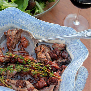 Slow-cooked American Lamb with Jammy Red Wine and Fruit.