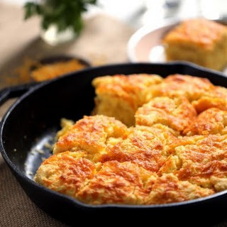 Cheddar and Cream Cheese Skillet Cornbread