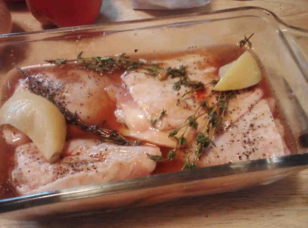Place all marinade (except water and lemon) in bowl and wisk together.In another bowl...