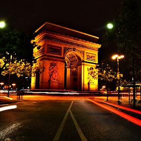 Night Time at the Arc de Triomphe by Craig Payne - City,  Street & Park  Historic Districts ( paris, minimal processing, arc de triomphe, monument, night, low light, charles de galle etoile, night lighting street )