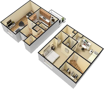 Go to Two Bed Townhome Floorplan page.