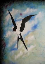 Photo: Crimson Sparrow Left 18x24 Mixed Media on Canvas