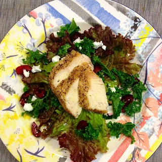 Kale and Red Lettuce Salad W/ Goat Cheese, Pickled Cherries and Grilled Chicken Recipe