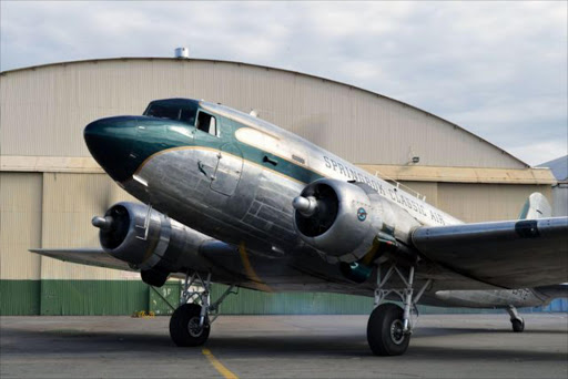 WARMING UP: Springbok Classic Air's DC-3 running up her radial engines outside Hanger 5, Rand Airport, Germiston