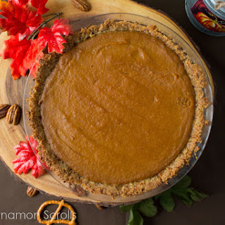 Traditional Pumpkin Pie with a Pecan Pretzel Crust.