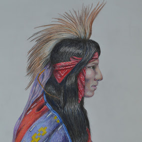 Little Creek by Lew Davis - Drawing All Drawing ( drawings, color pencils, art, color pencil, creek, muskogee, indian, boy, natives, drawing, native american )