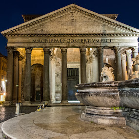 Lonely Pantheon  by Ryan Inhof - Buildings & Architecture Public & Historical ( rome, fountain, ruins, night, nightscape, temple, pantheon, ancient )