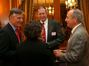 Photo: Judges Ned Leibensperger, Judith Fabricant, and Mitchell Kaplan of the Superior Court share a laugh with Richard Zielinski (Goulston & Storrs).