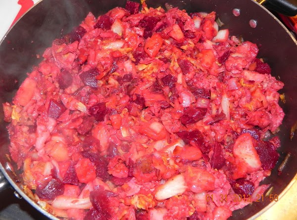 Now add your beets to the mixture. (Add more butter if necessary).
