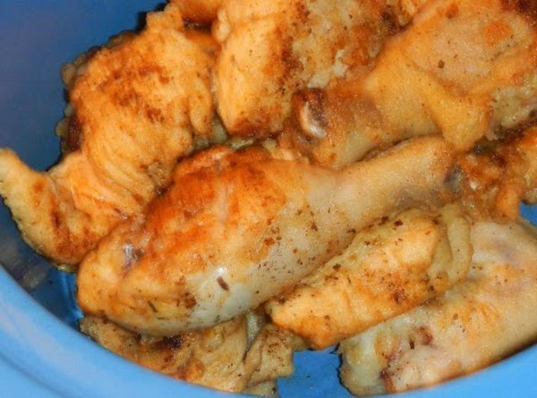 Then put golden browned chicken into a dry crockpot,  adding wings first, and no...