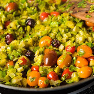 Shredded Brussels Sprouts with Cherry Tomatoes.