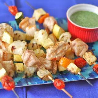 Summer Chicken Kebabs with Herb Sauce
