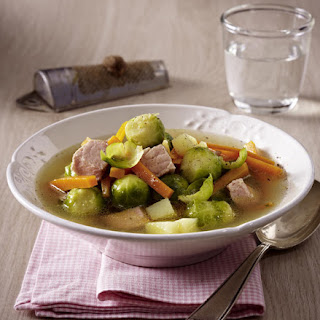 Brussel Sprout Soup with Ham.