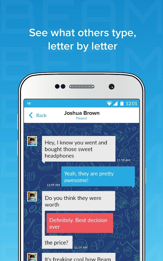 Beam Messenger: Real Time Text- screenshot
