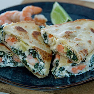 Spinach Artichoke & Shrimp Quesadillas.