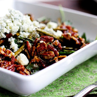 Roasted Asparagus and Arugula Salad with Candied Pecans and Bleu Cheese Crumbles