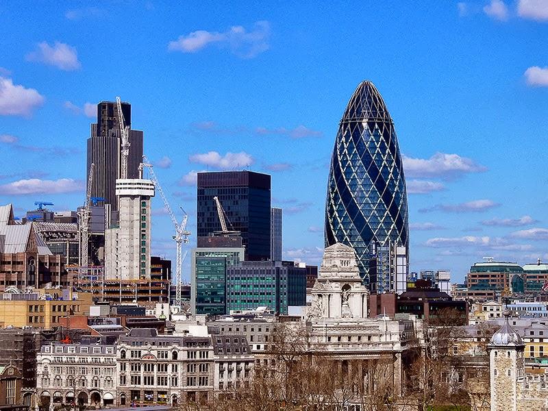 Photo: London skyline from Tower Bridge. - April 2006
