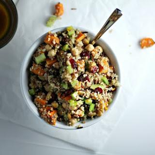 Vegan Ancient Grains Salad with Orange Zest and Maple Mustard Vinaigrette.