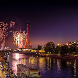 Paris by night @14 July by Racz Cristian - Abstract Fire & Fireworks ( paris, night photography, fireworks,  )