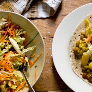 Cauliflower, Potato And Chickpea Curry Wraps With Raita And Crunchy Cabbage Relish
