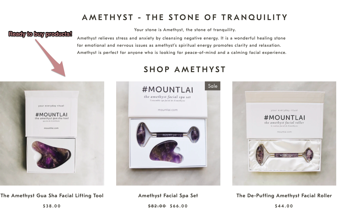 Amethyst products with links