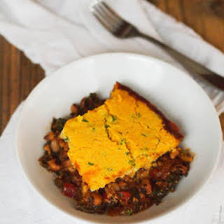 Black-Eyed Pea and Greens Casserole with Cornbread Crust.