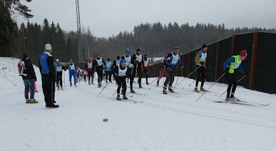 Photo: The 11 am start was for skiers expecting to complete the 34 km course in under three hours