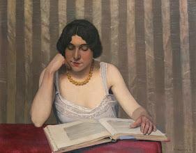 """Photo: Felix Vallotton, """"Donna con collana gialla che legge"""""""