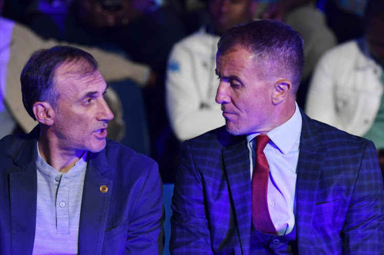 Kaizer Chiefs coach Giovanni Solinas and Orlando Pirates coach Milutin Sredojevic during the Telkom Knockout last 16 Draw at SuperSport Studios on October 08, 2018 in Johannesburg, South Africa. Picture: GALLO IMAGES/LEFTY SHIVAMBU