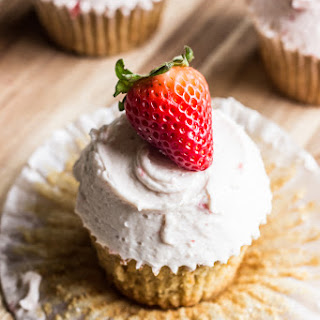 Brown Sugar Cupcakes with Roasted Strawberry Buttercream.