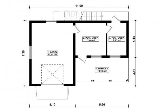 G353 - Budynek garażowo-gospodarczy - Rzut parteru