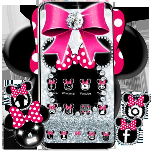 Cute minny pink Bow Silver Diamond Theme