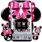 Cute minny pink Bow Silver Diamond Theme