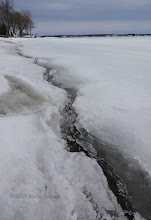 Photo: The ice crack runs the full length of the shoreline.