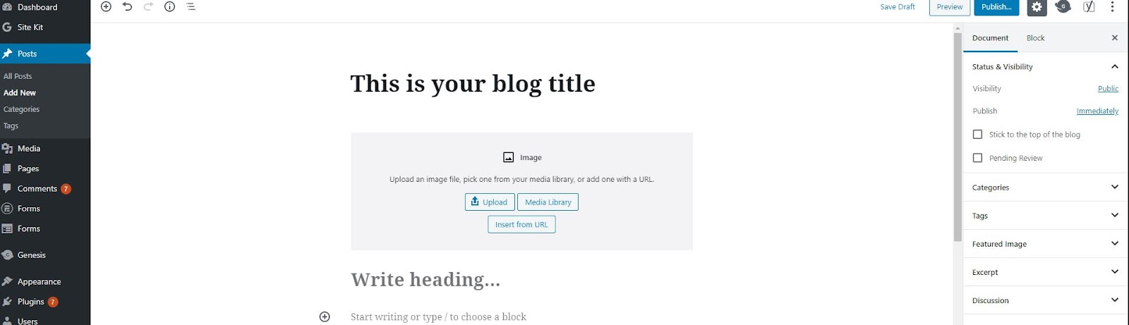 WordPress' blogging platform