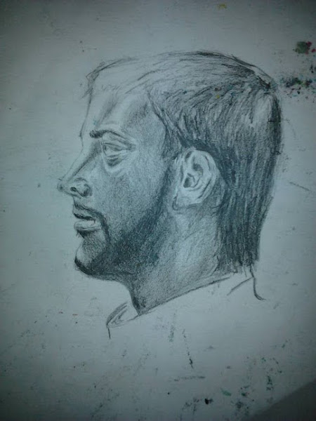 Photo: Man's profile sketch; graphite pencil.