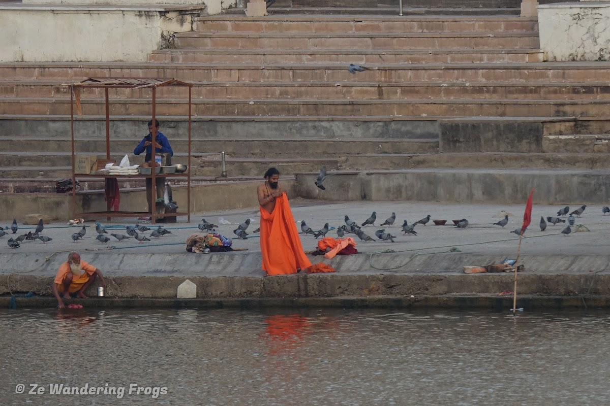 India. Rajasthan Pushkar . Hindu believers by a Pushar Ghat