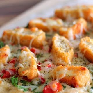 Crispy Chicken and Roasted Garlic Flatbread Pizza.