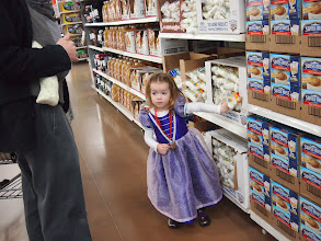 Photo: Speaking of sneaky, this little princess attempted to sneak some marshmallows into our cart. Her mission was thwarted by her wicked mother, however.